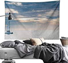 MaureenAustin Yoga TapestryNautical,Sailing Yacht in The Morning Time on Tranquil Seascape Cloudy Sky Peaceful Marine Image, Blue Light-Weight Polyester Fabric Wall Decor70 x90