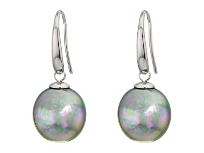 Majorica 12 mm Coin Pearl Drop Earrings (Grey) Earring
