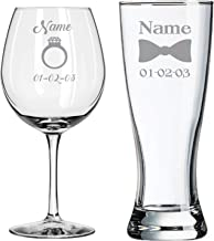 Custom Engraved - Bride and Groom Glasses - Newly Wed - Wedding Toasting Set of 2 - Couples Gifts - Engagement Gifts - Bridal Shower - Diamond Engagement Ring - Birthday Gift - Bridal Registery