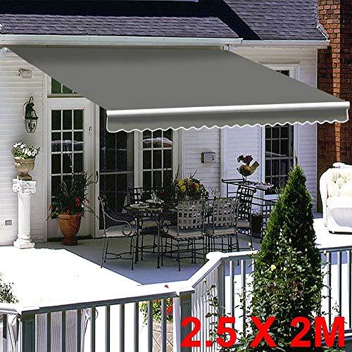 XIAO&WEICHENG DIY Manual Patio Awning Retractable Gazebo Outdoor Canopy Garden Sun Shade - 3.5m x 2.5m Canopy Gazebo Grey