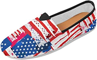 Fashion Painted American Flag Slip-on Women's Casual Canvas Flat Shoes (004)