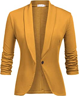 9d46f4e72be LaLaLa Women's 3/4 Ruched Sleeve Casual Work Office Blazer Open Front  Lightweight Jacket Suit