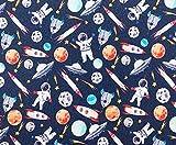 Stoff aus 100 % Baumwolle, Weltraumraketen, Mond und