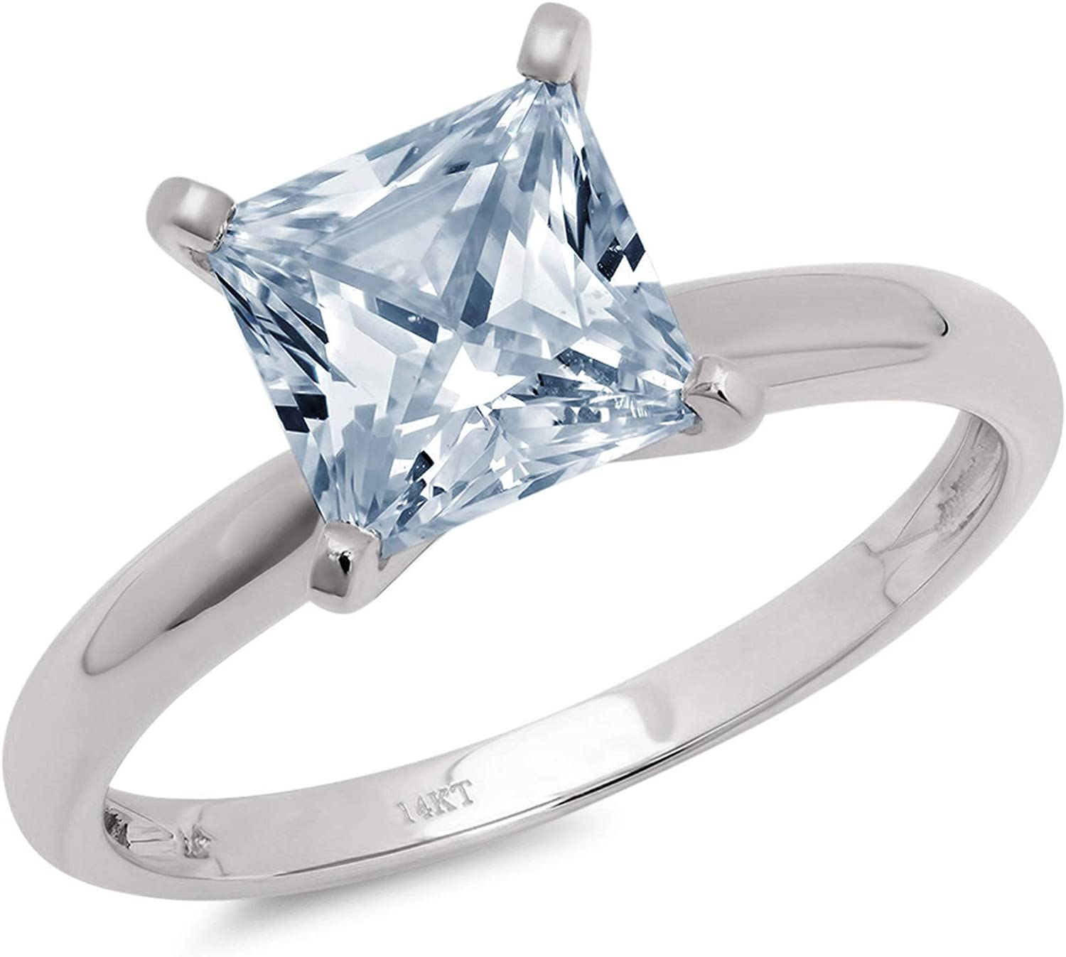 Clara Pucci 0.50 ct Brilliant Princess Cut Solitaire Natural Aquamarine Gem 4-Prong Engagement Wedding Bridal Promise Anniversary Ring Solid 18K White Gold for Women