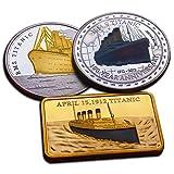 Besondere Sammlerstücke: Titanic-Gedenkmünzen - Sehr hochwertiges Set bestehend aus zwei Münzen und Plakette, Edition zum 100-jährigen Jubiläum -