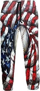 Cyloten Sweatpants American Flag Baseball Men's Trousers Durable Hip Hop Pants Sportswear with Pockets