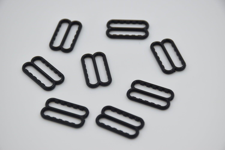 100Pcs per Pack, Black Plastic Garter /& Bra Strap Sliders with Gripping Teeth Bra Adjusters Slides Bra Strap Adjustment Buckle Slide 15mm