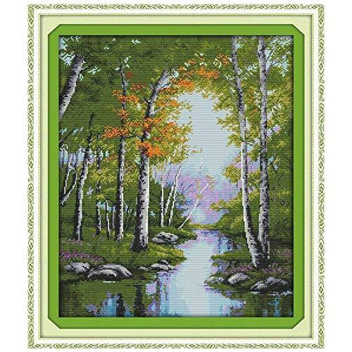 The Stream Herbst Kreuzstich 11CT 14CT-Kreuz-Stich-gesetzte Landschaft Kreuzstich-Stickerei-Kit Needlework Kreuzstich-Malerei (Cross Stitch Fabric CT number : 14CT blank canvas)