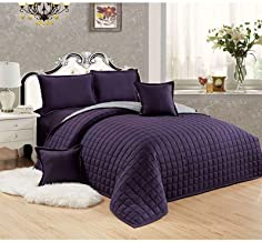 Sleep Night Compressed Two-Sided Comforter 6 Pieces Set, King Size, Light Purple Microfiber