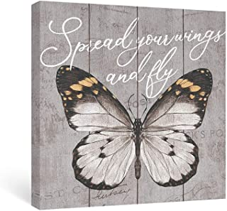 Takfot Butterfly Wall Art Inspirational Grey Canvas Paintings Quote Picture with Saying Framed Rustic Motivational Artwork for Bedroom Office Living Room 12x12Inch, Spread Your Wing and Fly.