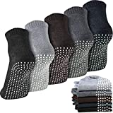5 Pairs Unisex Non Slip Grip Socks Anti-Skid Slipper Barre Socks Sticky Socks for Yoga Pilates Barre Home Workout Sports (Mixed Color) by