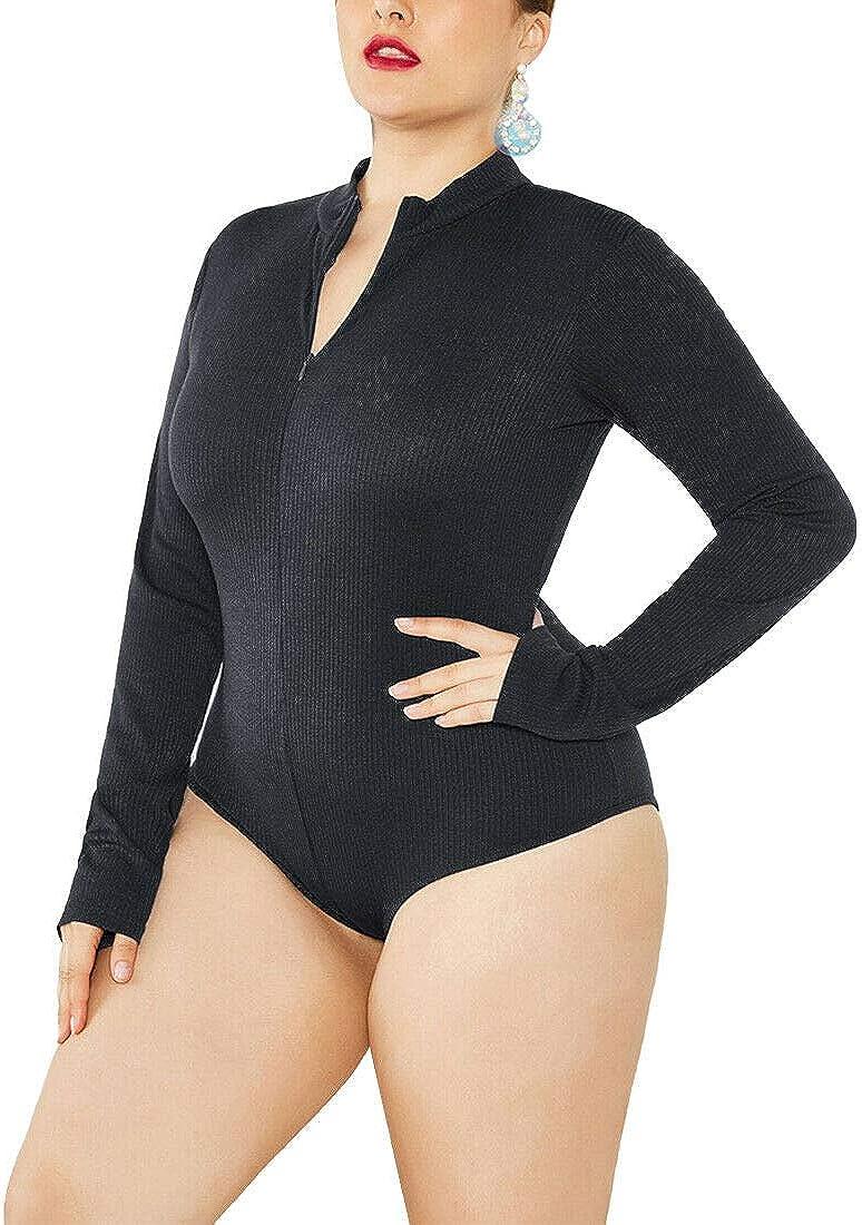Inlefen Womens Bodysuit Long Sleeve Stretch Leotard Basic Sweater Jumpsuit