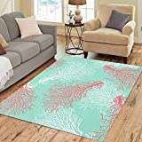 Pinbeam Area Rug Red Pattern Colorful Coral Reef Blue Abstract Aqua Home Decor Floor Rug 2' x 3' Carpet
