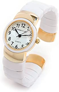 White Gold Flex Links Band Women's Bangle Cuff Watch