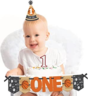 Big Dot of Happiness Nothin' but Net - Basketball 1st Birthday - First Birthday Boy or Girl Smash Cake Decorating Kit - High Chair Decorations
