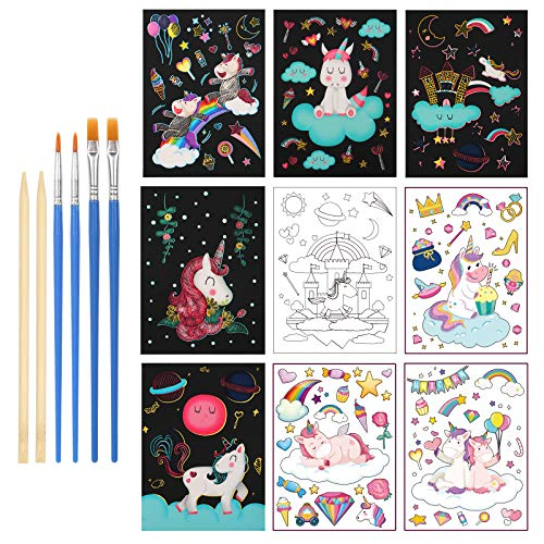 LANMOK Einhorn Kratzbilder, 24Stk Kratzpapier Regenbogen Zeichnen Scratchboard Doppelseitiges Papier zum Kratzen und Färben Kinder Basteln Set für Kindergeburtstag Mitgebsel Geschenk