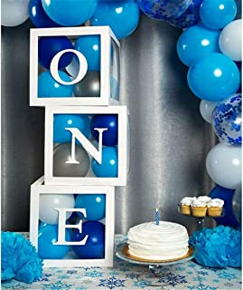 ONE Transparent Balloon Box Withe O N E Letters Gift Boxes Decorations Baby Shower Birthday Balloon Boxes for Birthday Par...