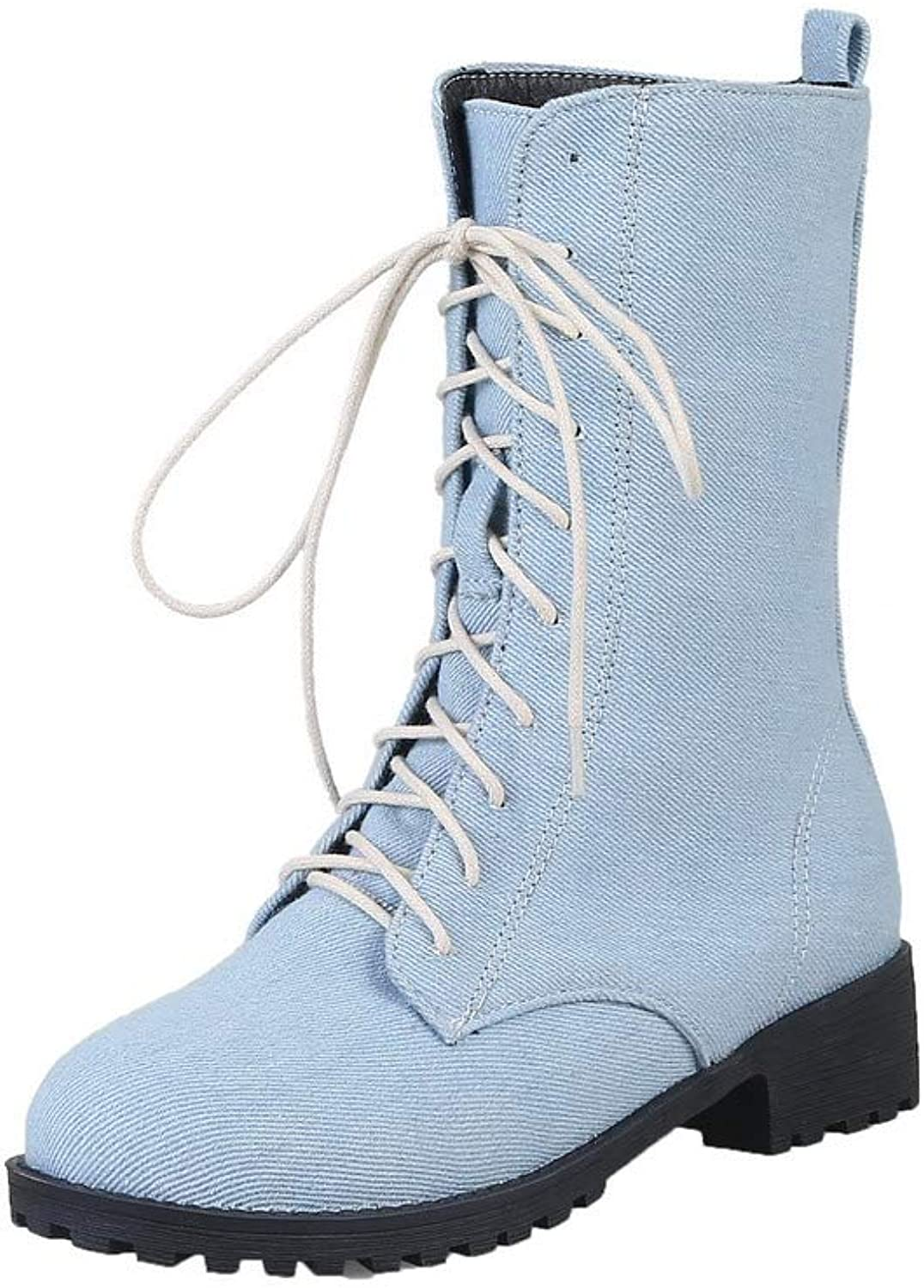 AmoonyFashion Women's Solid Low-Heels Round-Toe Denim Lace-Up Boots, BUSXT108511