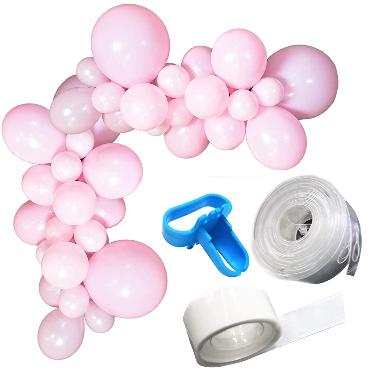 Buniluu Baby Pink Balloon Garland Kit | 50 pcs | Pink, Light Pink, Solid Pink | 16ft Balloon Strip Tape | Balloon Tie Tool | DIY Special Events Birthday Weeding Holiday Creative Decorations
