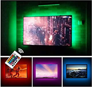 USB TV Backlight LED Strip Lights Kit for 24 to 60 inches Smart TV Sony LG Monitor, HDTV Wall Mount Stand Work Space Gaming Room Decor, LED Bias Ambient Mood Lighting