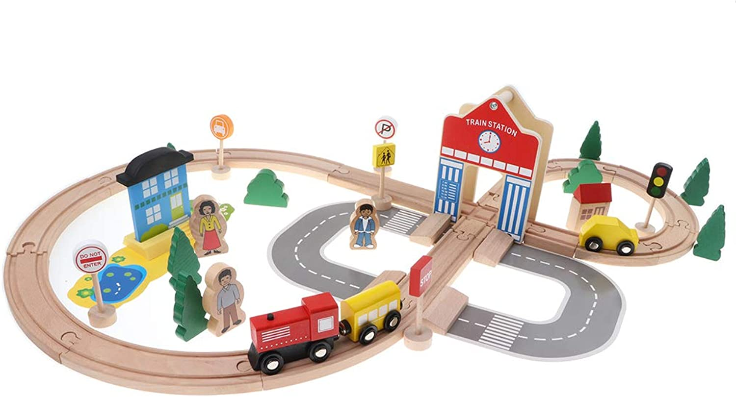MagiDeal 50pcs Deluxe Disassembly Wooden City Traffic Trains Railway Track Blocks Stacking Set Kids Educational Toy Role Play Activity