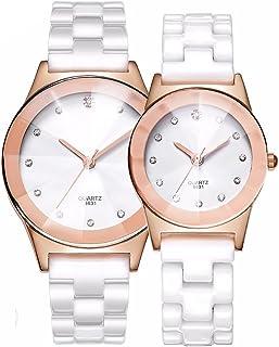 クラシックカジュアルクォーツアナログダイヤモンドLady Dress Watch with Ceramic Band forガールズ学生、シンプルなクリスタルファッション防水レディース腕時計ダイヤルCouple Watches 27mm/1'' ,37mm/1.5'' Rose gold Pair