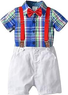 MRULIC Infant Baby Jungen Gentleman Strampler Hosentr/äger Strap Shorts Outfits Sets Sommer Kurzarm Shirt und Hose