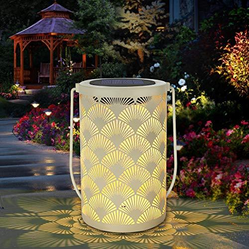 Solarlaterne für außen, SINJIAlight Tischlaternen im Freien Wasserdichte Lampe hängen Gartenleuchten mit Griff Dekorationen für Terrasse, Garten, Weg, Hof Baum - Creme Farbe (1 Pack)
