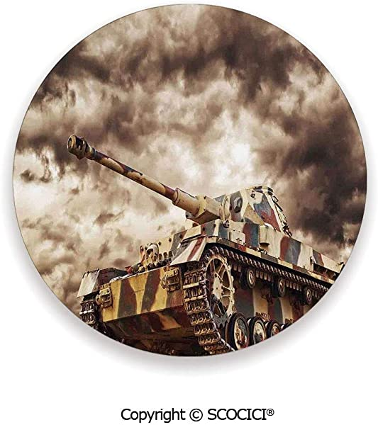 Ceramic Coaster With Wood Bottom Protection For Mugs Wine Glasses Protects Furniture Round War Home Decor German Tank In Action With Dark Storm Clouds 3 9 Diameter