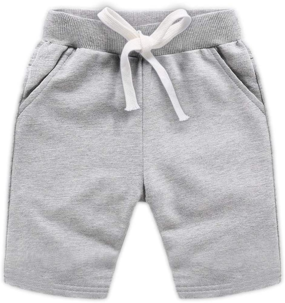 DCUTERQ Boys Girls Cotton Shorts Summer Knee Length Solid Sport Jogger Pants Drawstring Sweatpants for Kids Toddler 1-8 Years