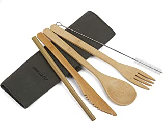 Travel Utensil Sets Flatware Set Serving Bamboo Cutlery Set Reusable Lightweight With Portable Pouch,Knife,Fork,Spoon,Straw,Clean Brush for Outdoor Camping School Office