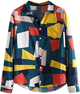 Big Sale! Fastbot Men's T-Shirt Short Sleeve fit Cotton Mens Contrast Color Geometric Printed Turn Down Collar Loose Shirts