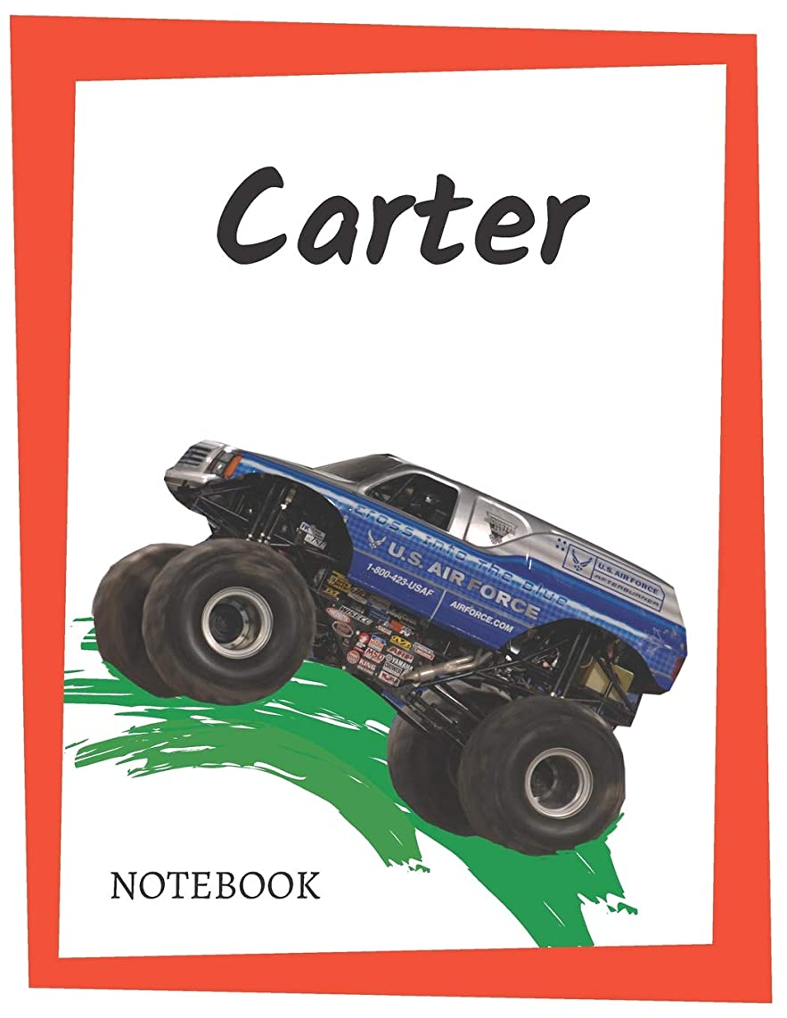Carter: Personalized Lined Notebook for People who Love Monster Trucks