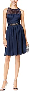 Adrianna Papell Womens Chiffon Embellished Cocktail Dress