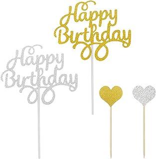 YuCool Lot de 20 décorations de gâteau d'anniversaire en forme de cœur Doré et argenté