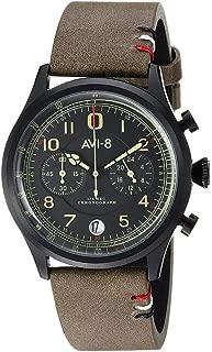 AVI-8 Men's Flyboy Lafayette Stainless Steel Japanese-Quartz Aviator Watch with Leather Strap, Green, 22 (Model: AV-4054-03)