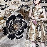 Tessuti dorati del jacquard del fiore della frangia del tessuto del vestito del broccato del fiore di lusso per la festa di sera di nozze 53' larghezza