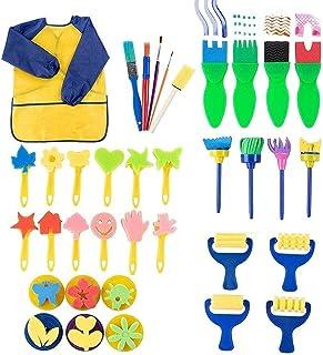 Kids Paint Set - 36-Piece Paint Sponge, Paint Brush, Foam Brayer and Artist Apron, for Kids Toddler Art Craft DIY Project,...