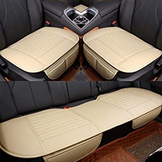 D-Lumina PU Leather Car Seat Covers Front & Rear (Back Row) Seats Cushion Bottom Pad Protector Mat Fits 99% Auto (Trucks Vans SUV), Universal for 4 Season, Beige (Tan), 3-Pack