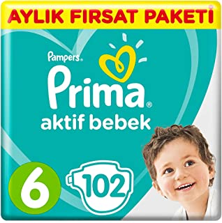 Prima Bebek Bezi Aktif Bebek 6 Beden Ekstra Large Aylık Fırsat Paketi, 102 Adet