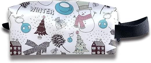 Szipry Cosmetic Bag Travel Handbag Santa Claus Snow Man Elk Prints Womens Girls Toiletry Bag Zipper Wallet with Wrist Band