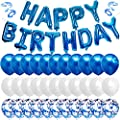 Blue Happy Birthday Balloon Banner White And Blue Confetti Balloons for Boy Birthday Party Decorations