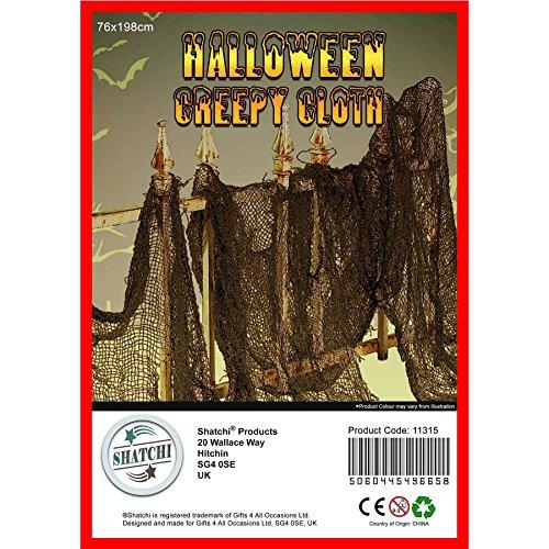 Geschenken 4 Alle gelegenheden Beperkte SHATCHI 5 x Grote Halloween Creepy Zwarte Decoratie Spooky Scary Net Fancy Jurk Party Deur Raam Tafel Cover Mesh Doek 76 cm x 200 cm