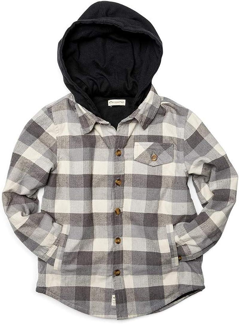 Appaman Kids Boy's Glen Hooded Shirt, Grey Check, 4 Toddler