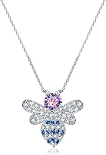 PLATO H 925 Sterling Silver Pendant Bee Necklace with Crystals from Swarovski for Women