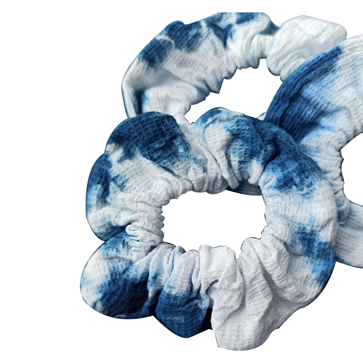 SHINE SHUNA Fine Grid Blue Tie Dye Soft Stretchy Elastic Ethnic Style Headband Expandable Hair Wrap Bandana Accessory(Random Tie-dye Pattern)