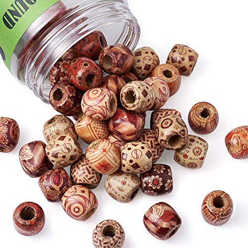 Pandahall 50pcs Assorted Painted Drum Round Wood Beads Large Hole Beads Barrel Wooden Beads Loose Spacer 0.6inch Diameter for Jewelry Bracelet Making Hole 0.3inch