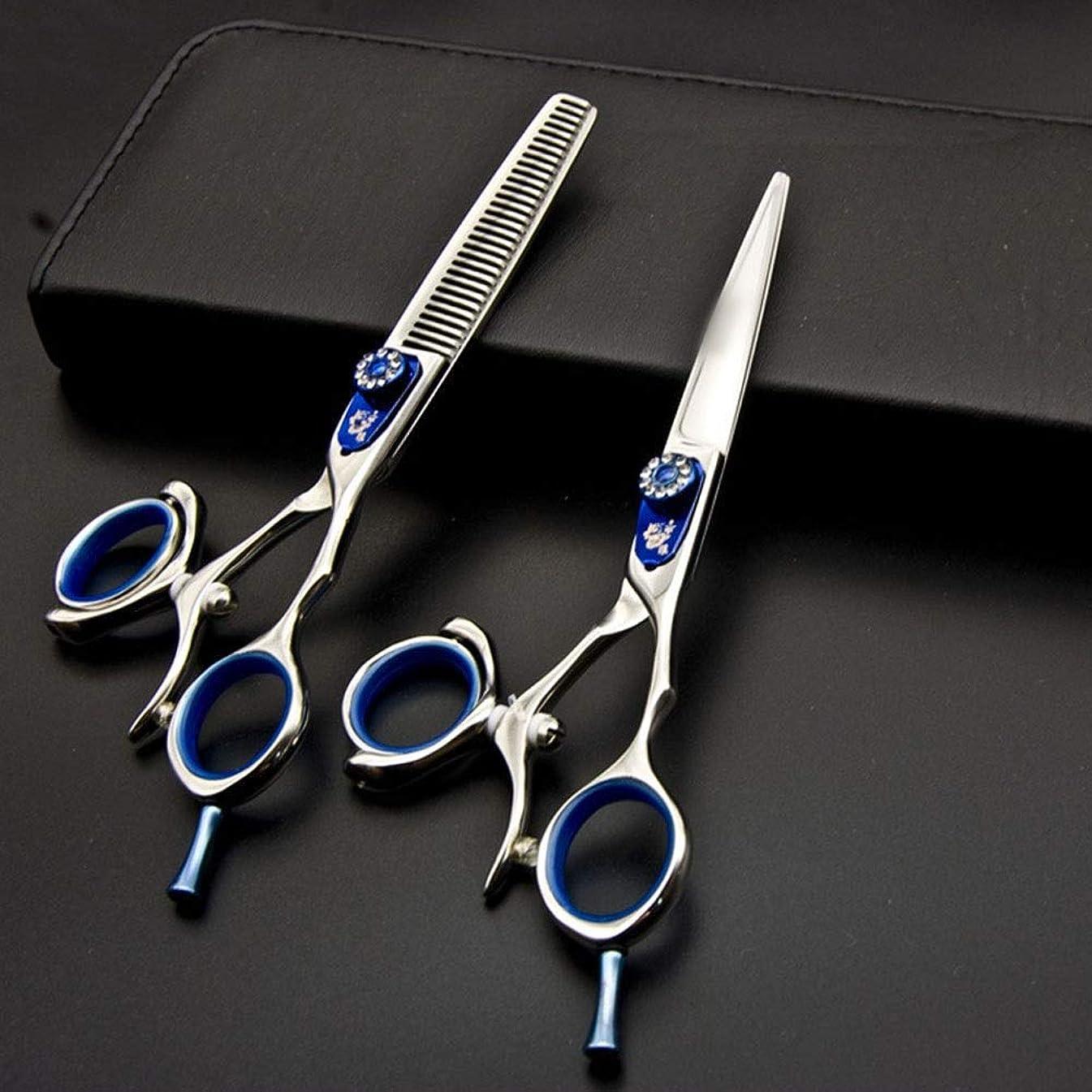 エール傷つきやすい注文6インチ美容院プロのヘアカットせん断セット、440 Cクリエイティブフィンガーはさみセット モデリングツール (色 : 青)