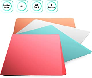 Thermal Laminating Pouches,Jiehome 4-Colors 80 Packs 3 Mil Clear Letter Size Laminating Sheets -9X 11.5Inch Great for Signs, Schedules,Certificates,Kids Artwork,and More