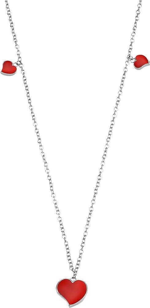 Stroili - collana girocollo per donna in acciaio con cuori in smalto rosso. 1659323